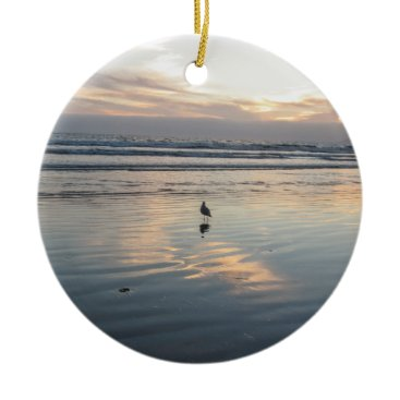 Beach Themed Seagull Sunset - Ceramic Ornament