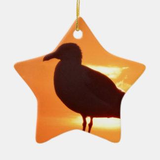 Seagull Sunset Ceramic Ornament