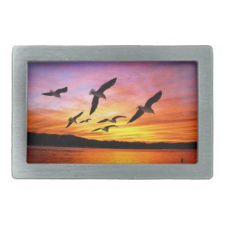 Seagull Sunset - Flying Gulls at Sunset Rectangular Belt Buckles