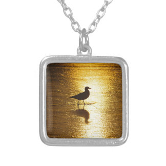Seagull Sunset Square Pendant Necklace