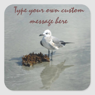 Seagull with Seaweed Custom Square Sticker