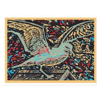 Seagull Woodcut Postcard