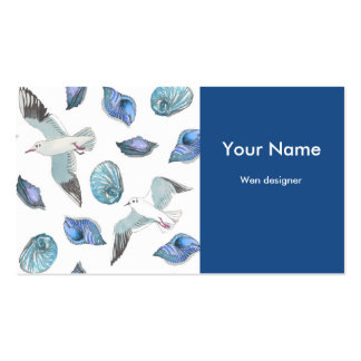 Seagulls and shells business card templates