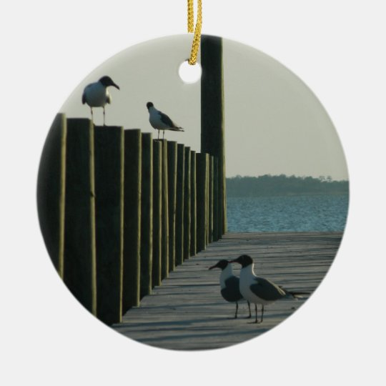 Seagulls and Sunset on The Docks Ceramic Ornament