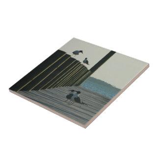 Seagulls and Sunset on The Docks Ceramic Tile