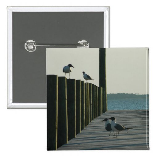 Seagulls and Sunset on The Docks Pinback Buttons