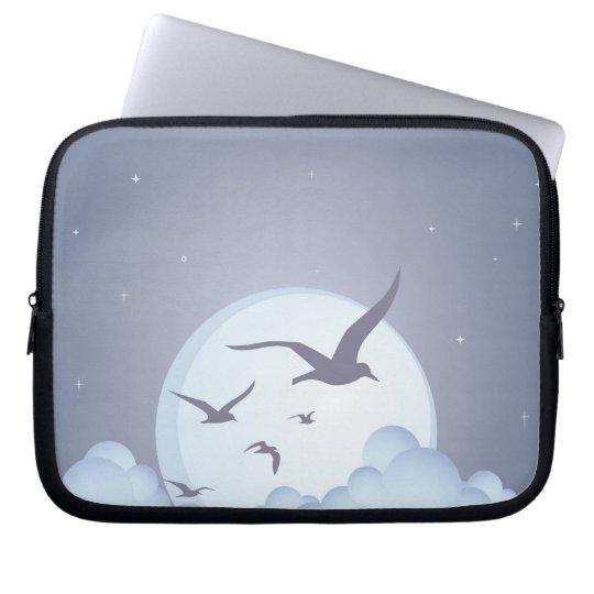 Seagulls at Night Purple Laptop Sleeve