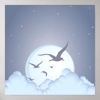 Seagulls at Night Purple Print
