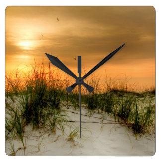Seagulls at Sunrise Square Wall Clock