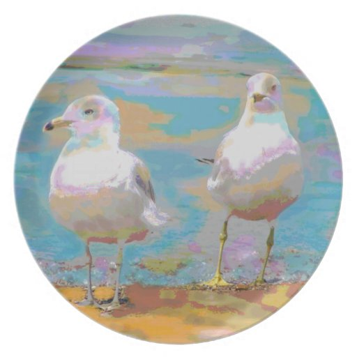 Seagulls at the Beach Plate