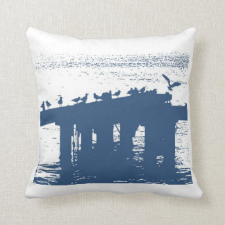 seagulls by the sea - blue cottage toss pillow