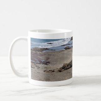 Seagulls feeding on the beach classic white coffee mug