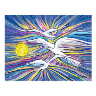 Seagulls Flying in the Sun Postcard