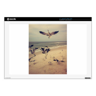 """Seagulls flying on the beach decal for 17"""" laptop"""