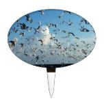 seagulls flying over beach cake toppers