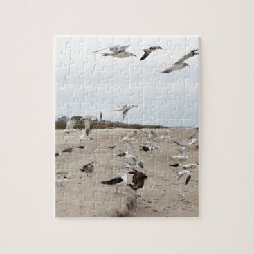 Seagulls Flying, Standing and Eating on the Beach Jigsaw Puzzle