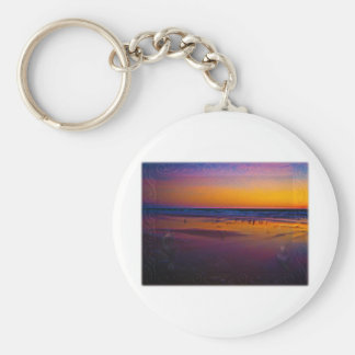 Seagulls Frolicking & Flying During Dawn on Beach Basic Round Button Keychain