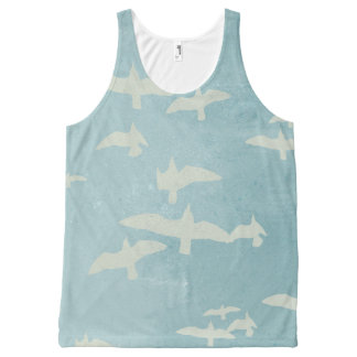 Seagulls in flight on teal blue, flying birds All-Over-Print tank top