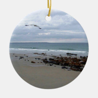 Seagulls In Maine Double-Sided Ceramic Round Christmas Ornament