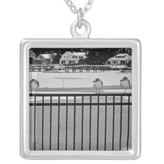 seagulls in snow square pendant necklace