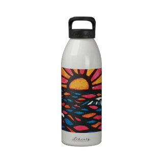 Seagulls in the Sunset Seascape Water Bottle