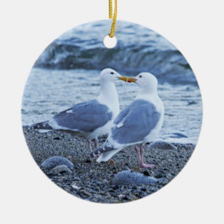 Seagulls Kissing on the Beach Photo Ceramic Ornament