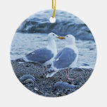 Seagulls Kissing on the Beach Photo Double-Sided Ceramic Round Christmas Ornament