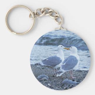 Seagulls Kissing on the Beach Photo Keychain