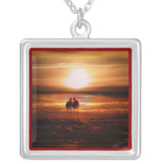 Seagulls - Lovebirds at Sunset Square Pendant Necklace