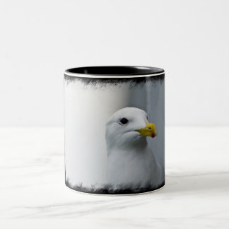 Seagulls Need Love Too on Black Two-Tone Coffee Mug