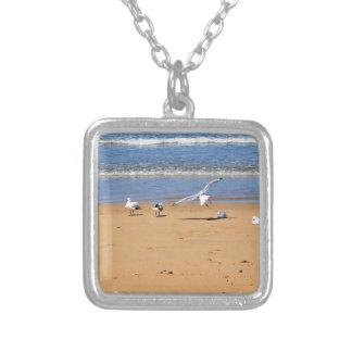 SEAGULLS ON BEACH QUEENSLAND AUSTRALIA SQUARE PENDANT NECKLACE