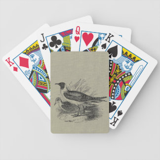 Seagulls on Oatmeal Burlap Bicycle Playing Cards