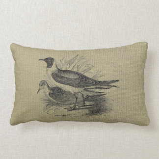 Seagulls on Oatmeal Burlap Lumbar Pillow