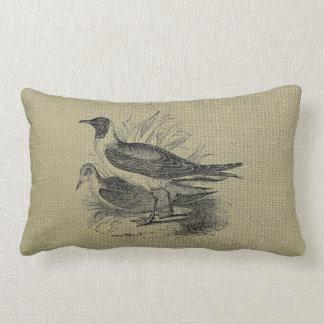Seagulls on Oatmeal Burlap Lumbar Pillow