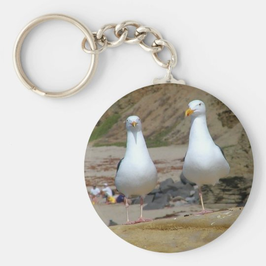 Seagulls On Oceans Beach Keychain