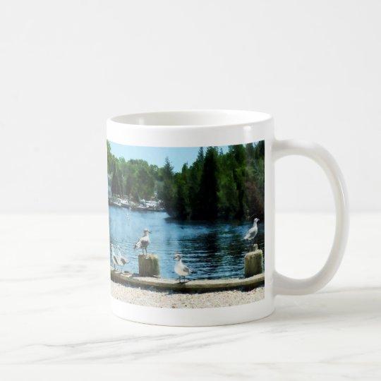 Seagulls on Pier Coffee Mug