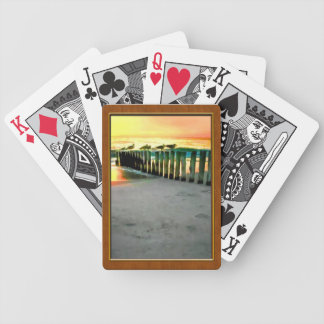Seagulls on Pilings at Sunset Playing Cards