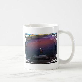 Seagulls on pink and blue waters edge coffee mug
