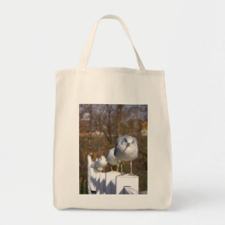 Seagulls on posts tote bag