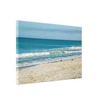 Art Themed Seagulls On the Beach Canvas Print