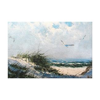Seagulls on the beach canvas print