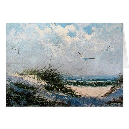 Seagulls on the beach card