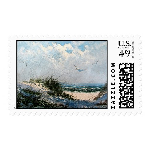 Seagulls on the beach postage stamps