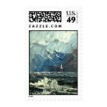 Seagulls on the sea stamp