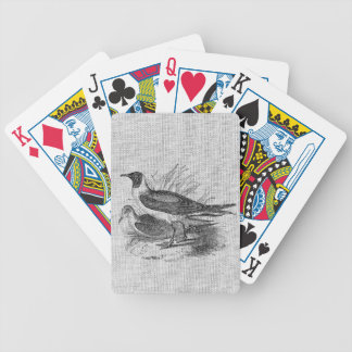 Seagulls on White Burlap Bicycle Playing Cards