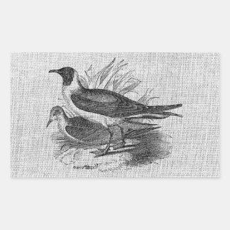 Seagulls on White Burlap Rectangular Sticker