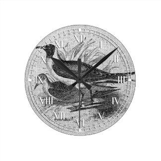 Seagulls on White Burlap Round Wall Clock