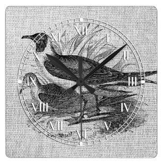 Seagulls on White Burlap Square Wall Clocks