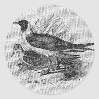 Seagulls on White Burlap Stickers