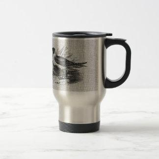 Seagulls on White Burlap Travel Mug